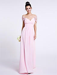 2017 Lanting Bride® Floor-length Chiffon Bridesmaid Dress - Off-the-shoulder with Criss Cross