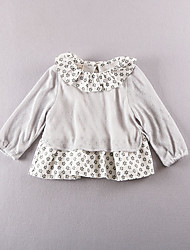 Girl's Casual/Daily Solid Blouse,Cotton Fall White / Gray