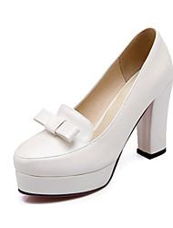 Damen-High Heels-Büro / Kleid / Lässig-Kunstleder-Blockabsatz-Absätze / Plateau / Pumps-Rosa / Lila / Weiß