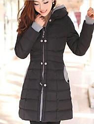 Пальто Простое Уличный стиль Длинная На подкладке Для женщин,Однотонный На выход На каждый день Хлопок Полиэстер Без наполнителя,Длинный
