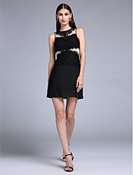 TS Couture Cocktail Party Prom Dress - Little Black Dress Sheath / Column Jewel Short / Mini Jersey with Lace