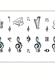 5PCS Fashion Music Body Art Waterproof Temporary Tattoos Sexy Tattoo Stickers (Size: 3.74'' by 5.71'')