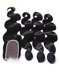 mekywell 3pcs trama do cabelo e fechamento do cabelo livre virign brasileira no cabelo onda do corpo tece