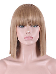 Best-selling Europe And The United States COS Wig Golden Brown Neat Bang BOBO Wig 12 Inch