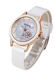 Women's Fashion Flower PU Band Quartz Watch