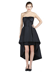 Formal Evening Dress A-line Strapless Asymmetrical Taffeta with Bow(s)