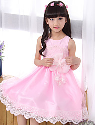 A-line Knee-length Flower Girl Dress - Cotton / Satin / Tulle Sleeveless Jewel with Bow(s) / Embroidery