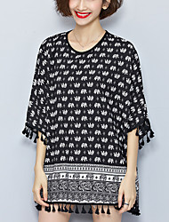 Maternity Round Neck Tassel Blouse,Polyester ½ Length Sleeve