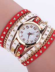 Women's Bohemian Style Rivet Leather Band White Case Analog Quartz Layered Bracelet Fashion Watch