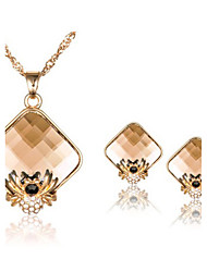 Women's Personality Diamond Spider Crystal Necklace Earrings Set