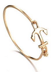 Alloy Anchor Natural Stone Gem Adjustable Cuff Bangle Bracelet