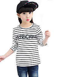 Girl's Round Collar Wild Casual Striped Print Long Sleeve Tee (T-shirt)