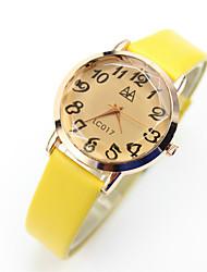 couleur café miroir polygonal étudiants créatifs des femmes cuir pointeur numérique montres à quartz occasionnel