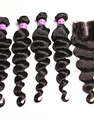 6A Brazilian Virgin Hair With Closure 4 Pcs Loose Wave Hair Extensions With 1 PC 4x4 Lace Closure