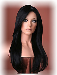 Beautiful long black straight hair wig Women's synthetic wigs Free shipping