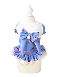 Cat / Dog Dress Black / Blue Summer / Spring/Fall Hearts / BowknotPething®, Dog Clothes / Dog Clothing