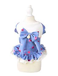 Cat / Dog Dress Black / Blue Summer / Spring/Fall Hearts / BowknotPething®, Dog Clothes / Dog Clothing