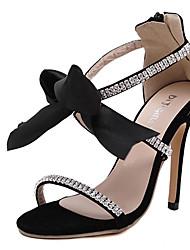Damen-Sandalen-Lässig-Polyester-Stöckelabsatz-Sandalen-Schwarz