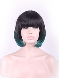 Daily Wear Short BoboWigs with Bangs Hair Style Highlight Synthetic Green Ombre Colored Straight Wigs