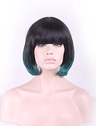 l'usure quotidienne bobowigs courtes avec point culminant de style frange de cheveux synthétiques ombre de couleur verte perruques droites
