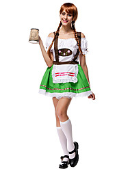 Costumes de Cosplay Fête d'Octobre/Bière Cosplay de Film Vert Mosaïque Haut / Jupe Halloween / Noël / Nouvel an Féminin Térylène