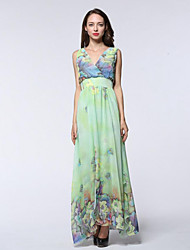 Women's Holiday / Plus Size Boho Chiffon Dress,Print Deep V Maxi Sleeveless Green Polyester Summer