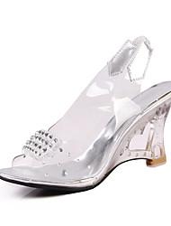 FemininoChanel-Anabela Heel translúcido-Prata Dourado-Courino-Social