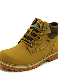 Men's Boots Spring Fall Comfort Cowhide Outdoor Casual Flat Heel Lace-up Yellow Brown Green Walking