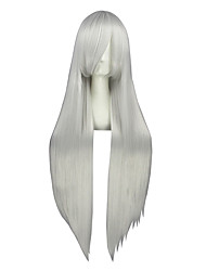Cosplay Wigs Vocaloid Haku Silver Long Anime Cosplay Wigs 100 CM Heat Resistant Fiber Male / Female