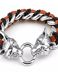 Kalen®Hot Selling Jewerly Men's 316L Stainless Steel Silver Wolf Head Charm Bracelets