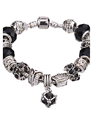 Lucky Doll Vintage Silver Plated Gemstone & Crystal / Cubic Zirconia Link/Chain / Beaded / Charm Bracelet #YMGP1015 Christmas Gifts