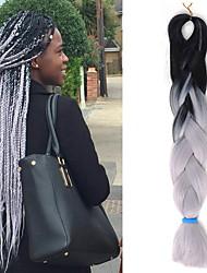 "1 Pack Black Ombre Light Grey Crochet 24"" Yaki Kanekalon Fiber 100g 2 Tone Jumbo Braids Synthetic Hair with Free Hook"