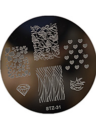 1pcs Nail Art Stamping Plate Small Round Shape Plate Geometric Image Manicure Tools  STZ31-35