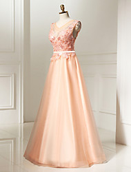 Formal Evening Dress A-line Jewel Floor-length Lace / Tulle / Sequined with Appliques / Beading