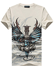 Tee-Shirt Pour des hommes A Motifs Décontracté / Grandes Tailles Manches Courtes Coton / Spandex Beige