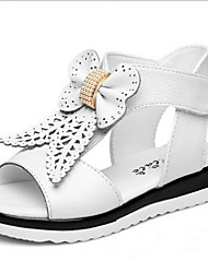 Girls' Shoes Casual Leather Sandals Summer Comfort / Open Toe / Sandals Flat Heel Bowknot Pink / Red / White