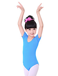 Ballet Leotards Children's Fashion Training Cotton Pleated 1 Piece  Ballet Short Sleeve Kid's Dance Costumes