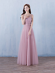 Formal Evening Dress A-line Scoop Floor-length Tulle with Sash / Ribbon