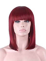 Best-selling Europe And The United States COS Wig Wine Red Neat Bang BOBO Wig 12 Inch