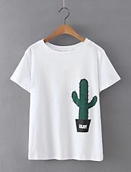 Tee-shirt Femme,Imprimé Décontracté / Quotidien simple Chic de Rue Eté Manches Courtes Col Arrondi Blanc Coton Lin Fin