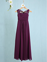 Sheath / Column Straps Ankle Length Chiffon Junior Bridesmaid Dress with Ruching by LAN TING BRIDE®