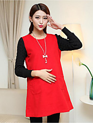 Maternity Round Neck Ruffle Blouse,Cotton / Polyester Sleeveless