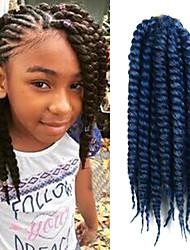 "Blackish Light Blue 12"" Kid's Kanekalon Synthetic 2X Havana Mambo Twist 100g Hair Braids with Free Crochet Hook"