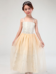 A-line Ankle-length Flower Girl Dress - Cotton / Satin / Tulle Sleeveless Spaghetti Straps with
