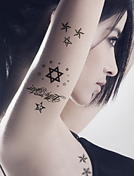 5PCS Fashion Star Body Art Waterproof Temporary Tattoos Sexy Tattoo Stickers (Size: 3.74'' by 5.71'')