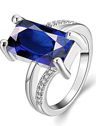 Anéis Grossos Gema Chapeado Dourado Quadrado Moda Elegant Ouro Rose Azul Real Jóias Casamento Festa Diário 1peça