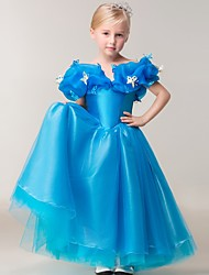 Ball Gown Ankle-length Flower Girl Dress - Tulle Short Sleeve Off-the-shoulder with Pick Up Skirt