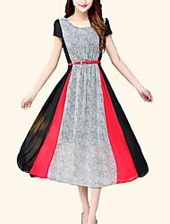 Women's Holiday Simple / Boho Chiffon / Swing Dress,Color Block Round Neck Midi Short Sleeve Red
