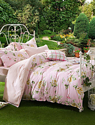 Chen Mu Xia - A powder, Full Cotton Reactive Printing Pastoral Flowers Bedding Set 4PC, FULL Size