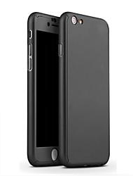 el oro de lujo cobertura cubierta de 360 grados para 6s iphone 6 / iphone 4.7 caja de la PC dura película de vidrio transparente de